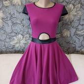 Летнее платье цвета фуксии с контрастной отделкой, р. S