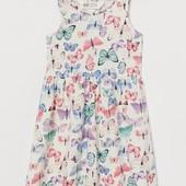 Летнее платье, сарафан для девочки от H&M бабочки 2-4г