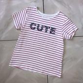 Стоп ❤ Фирменная полосатая футболочка с цветочной надписью,6-7 лет❤ Много лотов!