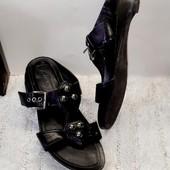 Чёрные кожаные шлепанцы мюлли clarks стелька 24,5