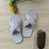 37р. Вязаные домашние сандали на подошве.