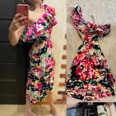 Нарядное летнее яркое платье, сарафан, рюши оборки на одно плечо от H&M