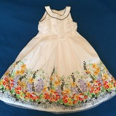 Летнее белоснежное платье в цветах 7 лет