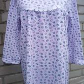 Ночная женская ночная рубашка утепленная на байке,100% хлопок 52