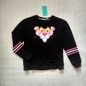 Стильный брендовый свитшот для девочки - розовая пантера. Рост:140. (8-9 лет) осень