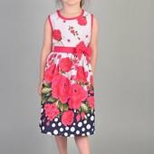 Стильний дитячий набор плаття в квіточках + панамка )