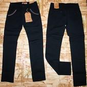 Модные бомбезные котоновые брюки в школу на девочку 158,-164 р. Темно-синий