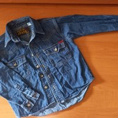 Джинсовая рубашка , для мальчика, на 6-7лет, на рост 122
