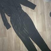 Женский элегантный ромпер чёрный с отливом