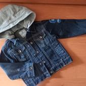 Джинсовая куртка с капюшоном для мальчика, на 3 года,на рост 94