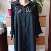Женская батальная рубашка с вставками гипюра