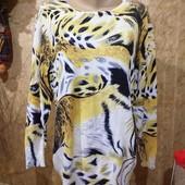 Эксклюзивный белоснежный с ярким принтом с поедками и бисером свитерок 3xl,4xl,5xl. Лотов много