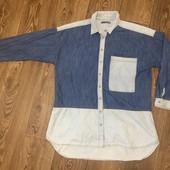 Классная удлиненная джинсовая рубашка (16 р)