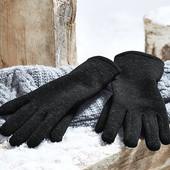 Теплые вязанные термо перчатки с флисом внутри от Tchibo германия , размер 6.5