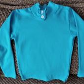стрейчевый, яркий голубой свитерок, размер 64 в отличном состоянии