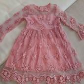 Нарядна сукня з 3Д вишивкою  5-7р.