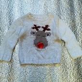 Новогодний шерстяной свитерок 18-24 мес