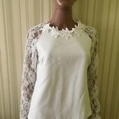 Lakerta фірмова блуза з кружевом білого кольору р.38