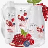 Набор avon naturals йогуртовый с ароматом граната и лесных ягод ,3 продукта
