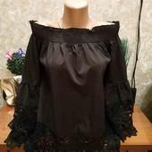 Шикарная чёрная блуза с шикарным кружевом