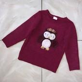 Стоп ,мерцающий❤ Фирменный с совушкой свитер для девочки,3-4 года❤ Много лотов!