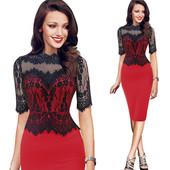 Красное платье с черным гипюром S