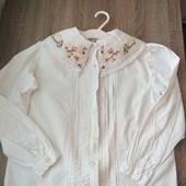 Стоп!! Фирменная удобная яркая натуральная красивая стильная блуза с красивой вышивкой