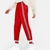 Красные брюки с лампасами Bershka, размер XS_S.