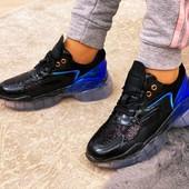 Топовые кроссовки голограмма+пайетки на силиконовой подошве.40-25см