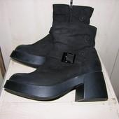 зимние комфортные кожаные сапоги 40р натуральный нубук на меху