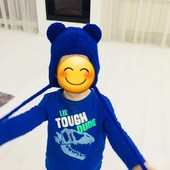 """Новая детская шапочка ручной вязки """"Мишка"""", на 3-7 лет, одна на выбор"""
