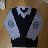 Рубашка-обманка для мальчика 128-158 см (голубая) (пр. Турция)