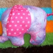 текстильні прикольні слоники, в лоті рожевий 24*18