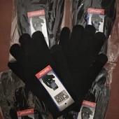 Женские перчатки тёплые с начёсом, сенсорные,УП-20%