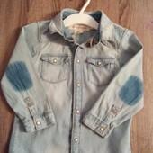 Стоп!! Фирменная удобная яркая натуральная красивая стильная джинсовая рубашка от h&m