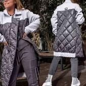 Стёганое комбинированное пальто, оверсайз