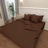 Стильная простынь 150*220 из однотонной коричневой бязи, качественный пошив, быстрая отправка