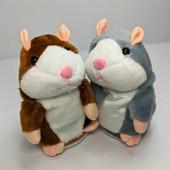 Говорящий хомяк-повторюшка woody time brown, мягкая игрушка повторяет слова, говорящая игрушка