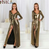 Шикарное вечернее платье с разрезом! Золото. Супер цена!