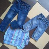Джинсы скинни на подкладке +шорты,рубашка /одним лотом