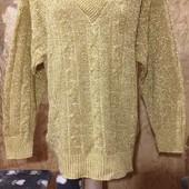 Эксклюзивный ажурный весь с люрексом золотым тёплый стречь свитерок новый.Акрил. Батал. Лотов много