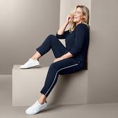 ☘ Жіночі брюки з декоративною полосою довжини 7/8, Tchibo (Німеччина), розмір н.: 54-56 (48/50 евро)