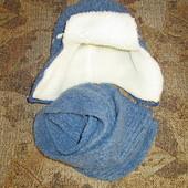 Теплая шапка с шарфом для мальчика в отличном состоянии