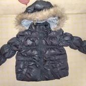 курточка пуховик Zara осень для малышки 1-1.5г